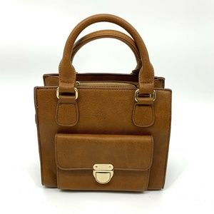 Forever 21 Mini Tote Bag Brown Faux Leather
